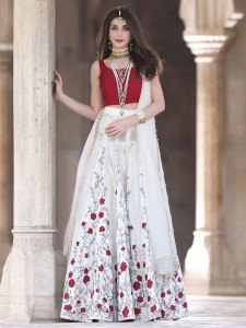 Cascading White with Red Dress
