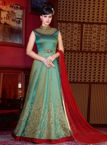 Embellishing Green Anarkali Frock