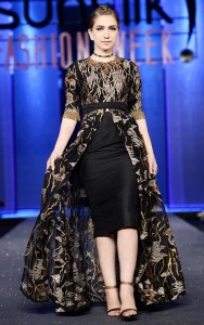 Front Open Black Stitched Frock