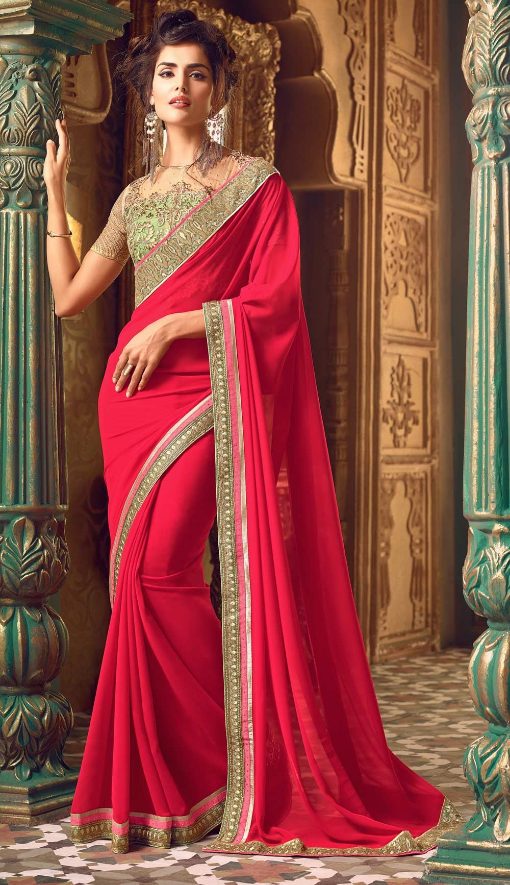 14f84d85f00446 Latest Pakistani Designer Saree Designs 2019 For Women - StyleGlow.com
