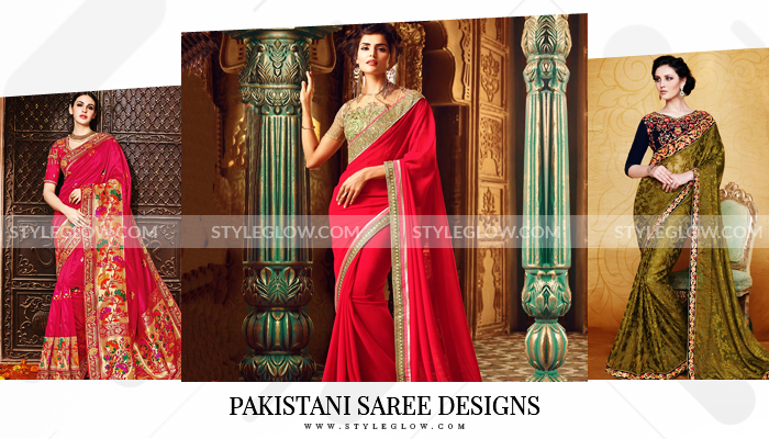 b7f313a945b Latest Pakistani Designer Saree Designs 2018 For Women - StyleGlow.com