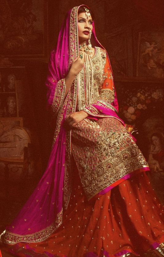 Pink Color Combination For Bridal Dress