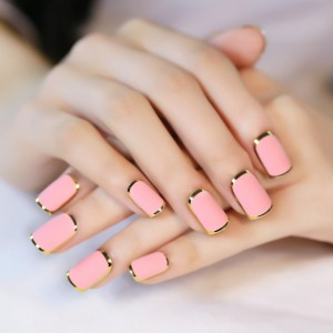 Pink with Golden Stripe Nail Art