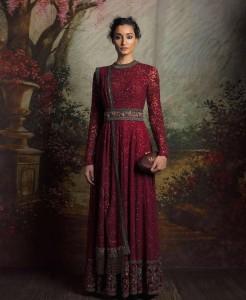 Red Indian Anarkali Dress Design