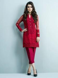 Red Stitched Kurti Design