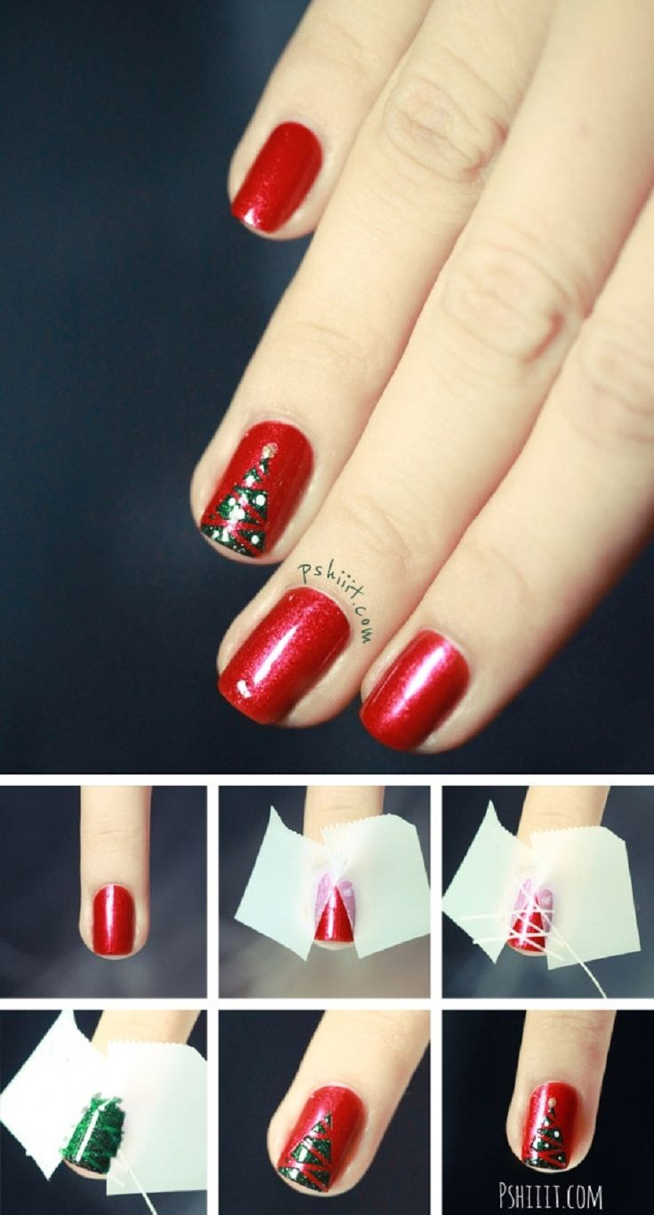 Christmas Nail Art French Manicure Red With White: Best Easy & Lovely Christmas Nail Designs